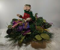 VNTG Christmas Centerpiece Elf Greens Glass Ornaments Gift Packages Mid Century
