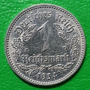 1 Mark Reichsmark Stück 1934 J Deutsches Reich Reichsadler alte Münze