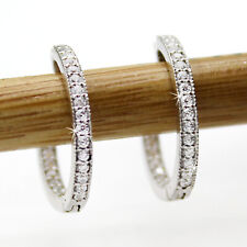 14kt White Gold Milgrain Diamond Hoop Earrings For Womens Inside Out Hoops