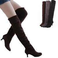 Women's slim Party Kitten Heels Over The Knee Stretch Comfort Warm tall Boots Sz