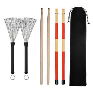 Professional Brushes Drum Sticks Maple Wood Drumsticks Retractable Wire Brush LD