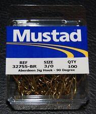 100 Mustad 32755BR Size 3/0 Bronze Aberdeen 90 Degree Jig Hooks 32755BR-30