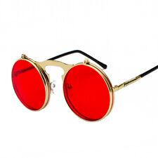 Vintage Retro Flip-up Steampunk Sunglasses Men Women Metal Round Eyewear Glasses