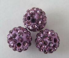 3PCS Lilac Polymer Clay Crystal Shamballa Beads 1Omm Shamballa Bead Zardenia B8
