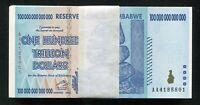 100 CONSECUTIVE 2008 100 TRILLION DOLLARS RESERVE BANK OF ZIMBABWE, AA P-91 UNC
