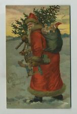 Early Beautiful Santa Claus Red Robe Dolls Toys Christmas Nister Postcard yz5532