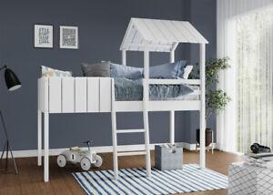 Kids Cabin Bunk Bed Wooden Single Mid Sleeper & Ladder Treehouse Canopy Children