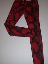 """Vera Wang 'Born To Rule"""" Red Snake Print Skinny Jeans Size 5"""