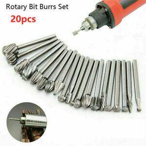 20x HSS Rotary Drill Bits Carbide Burr Set  Die Grinder Carving Engraving Dremel