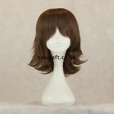 Medium flick cosplay costume wig in matt dark brown, UK SELLER, Ash style