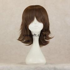 Medium flick cosplay costume wig in matt dark brown, UK SELLER, Ash style
