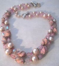 Vintage VENDOME Pink Crystals Mixed With Art Glass Beads 2-Strand Necklace