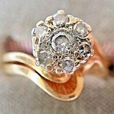 Diamond Cluster Ring Wedding Band 14k Yellow Gold 4.6g Womens 6 Flower VTG