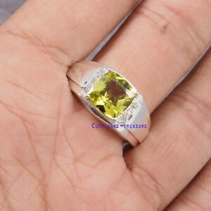 Natural Lemon Topaz & CZ Gemstones with 925 Sterling Silver Ring For Men's