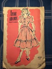 VINTAGE CLOTHING SEWING PATTERN-ANNE ADAMS #4939 -SIZE 16 dress 1930's 1940's