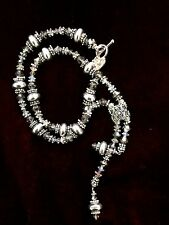 Beautiful Designer Sterling Silver Necklace With Bali Beads And Clear Crystal