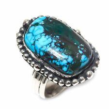 Silver Ring Size 9 Tibetan Turquoise Gemstone Handmade .925