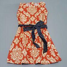 Persnickety Girls Orange Ella Dress 4 Alpine Daisy Sash Sleeveless New kg1