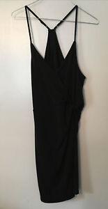 New BCBGeneration BCBG Cross Back Faux Wrap Bodycon Black Sleeveless Dress Sz L