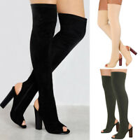 Women Block Thigh High Boot Ladies Peep Toe High Heel Solid Elastic Party Shoes