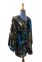 Chico's Silk Gauze Kimono Jacket Sz 1 Small Medium Abstract City Scene Black blu