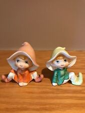 Homco Vtg Garden Pixie Elf Fairies Ceramic Collectible #5213 Original Stickers