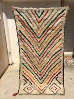 "Vintage Moroccan Azilal Handmade Rug M05 multicolors waves 6'8"" x 3'3"""