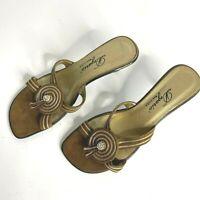 Vintage Dezario Bronze Details Suede Kitten Heel Mules Sandals US 8.5 EU 39
