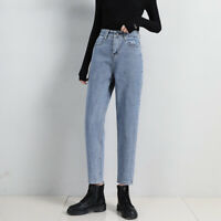 Womens Harem Jeans High Waist Straight Loose Simple Casual Trousers Female Pants