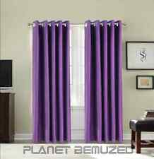 PAIR OF THERMAL INSULATING LIGHT BLACKOUT EYELET READY-MADE CURTAINS + TIE-BACKS