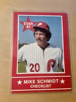 1983 Star#1 MIKE SCHMIDT *Checklist* Philadelphia Phillies Baseball Card. 3Base
