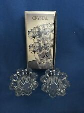 CRYSTAL 2-Piece Candleholder Set NIB Votive and Tapered Candles Alco Dining Room
