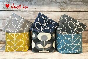 Handmade square fabric storage basket tub- Orla Kiely Linear Stem Grey Dandelion