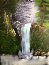 Bob Ross Style Original Painting 18x24 Canvas Waterfall Wet on Wet