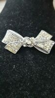 Vintage 1950s Detailed Bow Rhinestone brooch