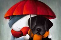 Doug Hyde SHOWERED WITH LOVE - MOUNTED - Cute Art Print Black Dog Lab Labrador