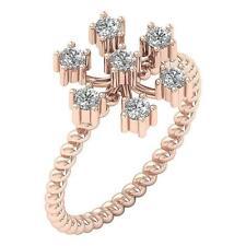 Hand Wedding Ring I1 G 0.55 Ct Natural Round Diamond 14K Rose Gold Right 12.20Mm