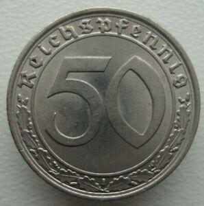 Germany Third Reich 50 Reichspfennig 1939 A Rare Nickel Coin S4