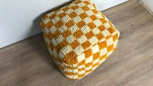 Yellow and white Moroccan Berber wool checkered pouf! Floor cushion