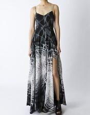 Empire Maxi Dress High Cut Panels Religion Social Gray Geometric XS S NWT $289