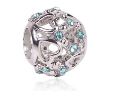 NEW Heart Spacer Charm Silver Turquoise Filler Ladies Pendant Jewelry bead Gift