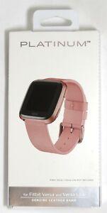 Platinum - Leather Watch Band for Fitbit Versa 2, Fitbit Versa/Versa Lite - Pink