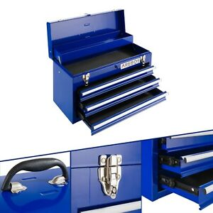 AREBOS Tool Box 3 Drawers Tool Case Tool Chest Tool Kit Steel Blue