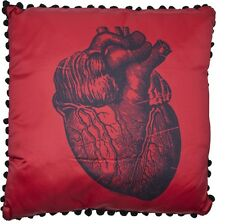 ANATOMICAL HEART PILLOW medical illustration Red satin Black punk By SOURPUSS