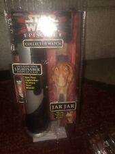 New Star Wars Episode 1 Collector Watch, Jar Jar, w/ Light Saber Display Case