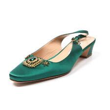 MANOLO BLAHNIK Slingback Shoes Green Satin Beaded Size 39 / UK 6
