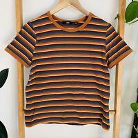 Sportsgirl Womens Multicoloured 70's Style Striped Ringer Shirt Top Size S