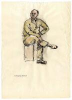 Nachlass Irma Siegert: Herren Portrait, aquarellierte Tuschezeichnung um 1950