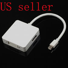 NEW 3 in 1 Mini Displayport DP to DP HDMI DVI Adapter Cable For MAC pro Surface