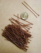 Copper head and eye pins 2 inch 100 pc lots plated steel 22 gauge wire fpe064